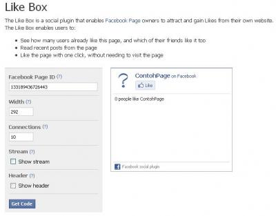 Facebook Page Like Box