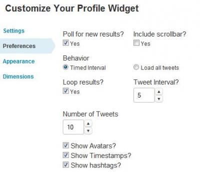 Twitter Preferences
