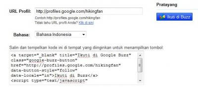 Google Buzz (Tombol Follow)
