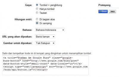 Setting Google Buzz Share