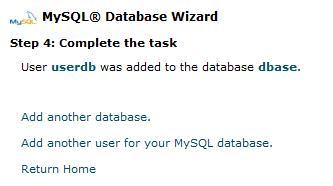 CPanel Database Completed