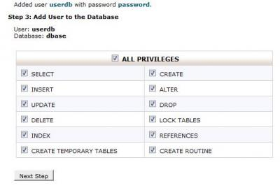 CPanel Database Privileges