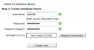 CPanel Database User
