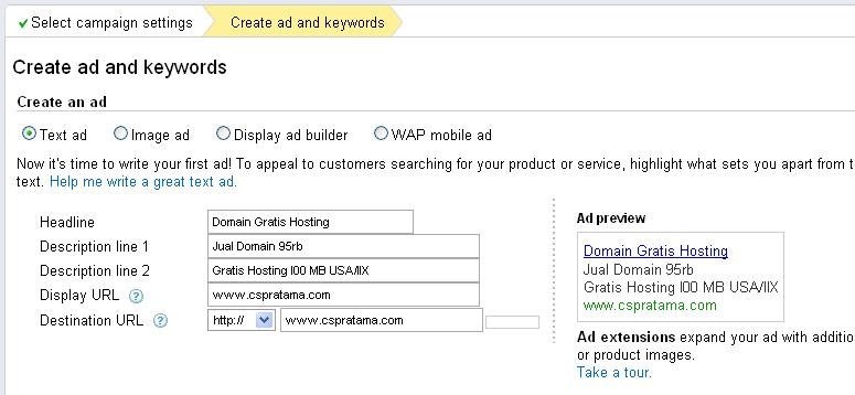 Google Adwords - Create Ad