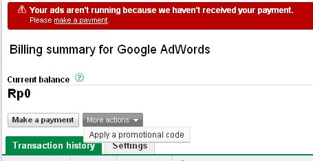 Google Adwords - Apply promotion code